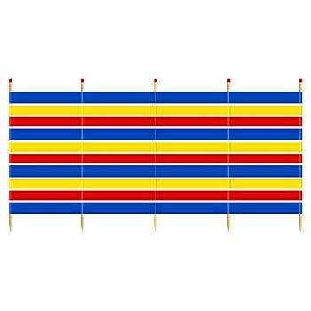 Yello Paravent de Plage WB067-5 poteaux - 1,5 m - Multicolore - 150 x 287 cm - Unisexe