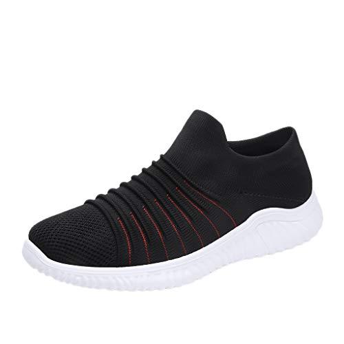 AIni Herren Schuhe Beiläufiges Mode 2019 Neuer Heißer Gewebte Atmungsaktive Einbeinige Faule Socken Schuhe Einfarbig Lässige Turnschuhe Freizeitschuhe Partyschuhe (40,Schwarz)