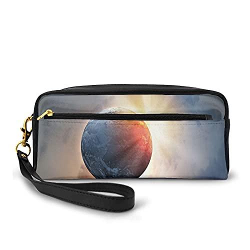 Con bolsa de lápiz con cremallera,Días Ciclo Tema Rising Sun Planet in Space Astronomy Cloudscape Atmosphere,Estuche pequeño maquillaje bolsa