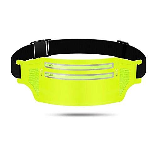 Topschoen – Riñonera impermeable con orificio para auriculares, 2 cremalleras, verde luminoso