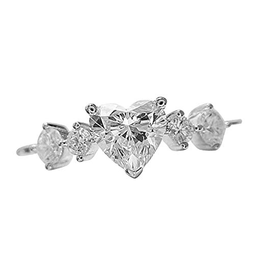 minjiSF Anillo de diamante en forma de corazón para mujer, anillo de compromiso, anillo de boda, de alta calidad, anillo de boda, regalo