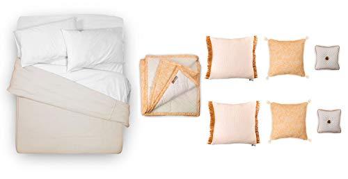 tapidecor Pack Textil Cama: Funda NORDICA Colcha + Funda Almohadas + Sabana Bajera + Cojines Decorativos + Plaid Manta PIE Cama. Liberty - 135-150 cm. (240 x 230 cm.), Camel