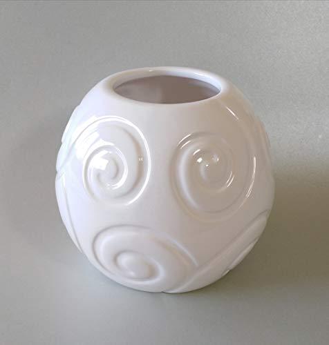 Fibula Style Kugelvase Keramikvase Blumenvase Tischvase rund weiß ø16 cm
