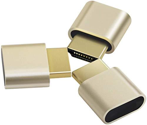 3-Pack Adwits 4K 2K 1080P 30Hz bis 60Hz Unterstützung HDMI Display-Emulator DDC EDID Headless Ghost Monitor Adapter Dummy-Stecker, Höchste 4096x2160 @ 60Hz in Gold Farbe