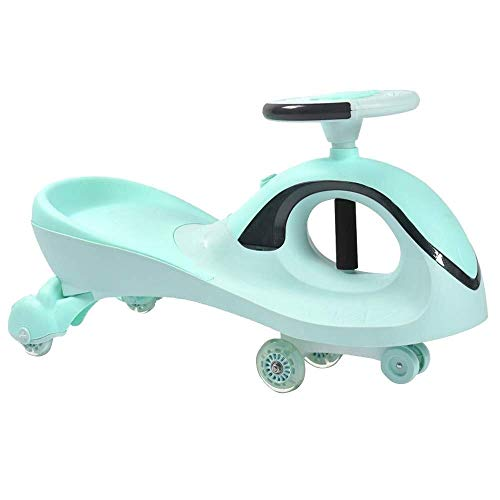 Daxiong Auto-Kinder Twist, Swing-Auto-Spielzeug Gyro Scooter Fun Gift Music Cool Lighting Design Tragbare Mute Blitz-Rad drehen,Grün