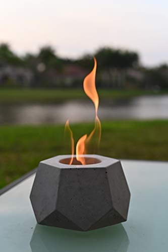 Colsen Tabletop Rubbing Alcohol Fireplace Indoor Outdoor Fire Pit Portable Fire Concrete Bowl Pot Fireplace (HEX Large)
