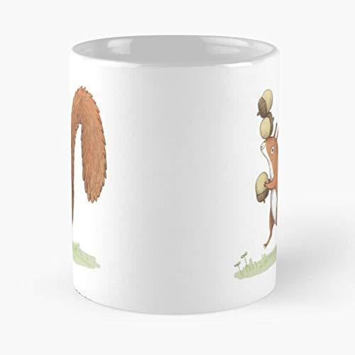 Taza de café de cerámica para niños con bellotas y ardillas de bellota para niños con boceto para comer a morder John Best de 315 ml