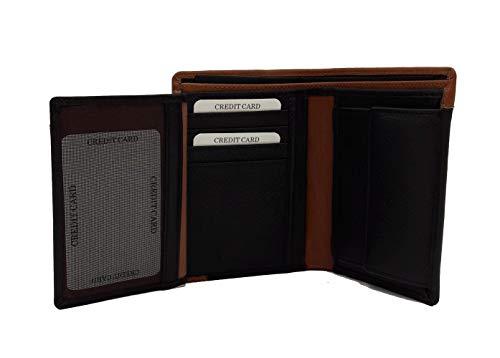 Blauer USA Collezione Blocks Line, Portafoglio Verticale in Pelle da Uomo con Portamonete, Portadocumenti e Portacarte, 9,5x12,5x2 cm, Nero