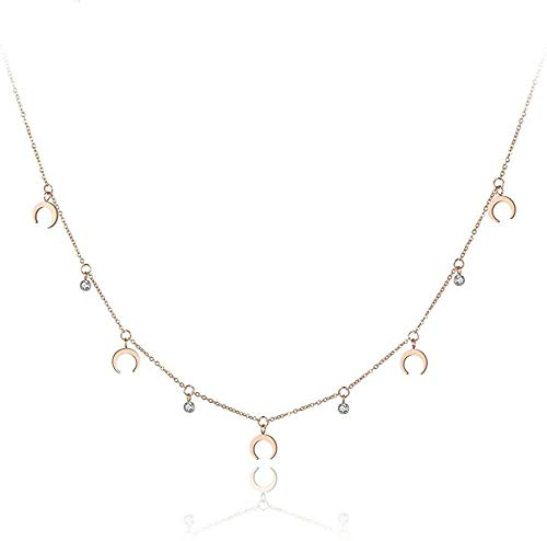 NC56 Necklace Pendant Trendy Stainless Steel Crystal Horn Shape Choker Necklace Jewelry Lovely Pendant Chain Necklace for Women Girls