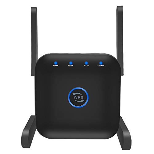 Whew WiFi Range Extender, 1200Mbps Wireless WiFi Repeater Dual Band 2.4G and 5G Signal Booster 4 Antennas 360° Full Coverage One Button Setup with Ethernet Port