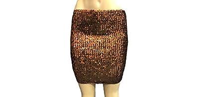 Cheryl Creations Women's Short Sequin Comfortable Day/Night Tube Mini Skirt