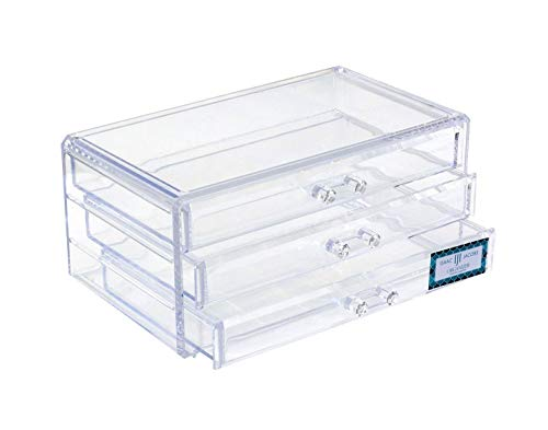 Isaac Jacobs Clear Acrylic 3-Drawer Stackable Jewelry Organizer, Cosmetic & Makeup Case with 3-Drawer Trays, Made for Bedroom, Bathroom, Countertop & Dresser