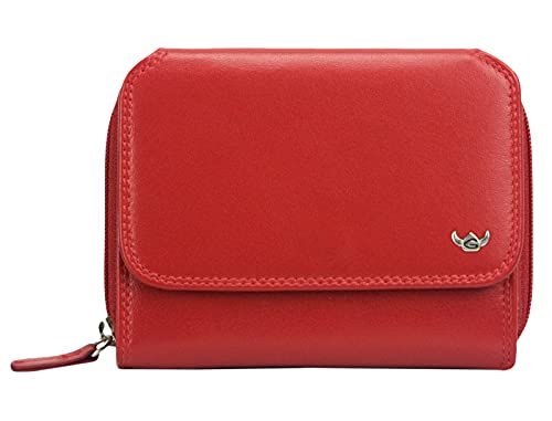 Golden Head Polo RFID Protect Zipped Billfold Coin Wallet Red