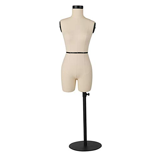 DE-LIANG Half Scale Fiberglass Sewing Dress Form|Fitting Tailor Mannequin Torso for Draping | Pinnable Dressmaker Tailor Dummy|Sewing Tool|Beige