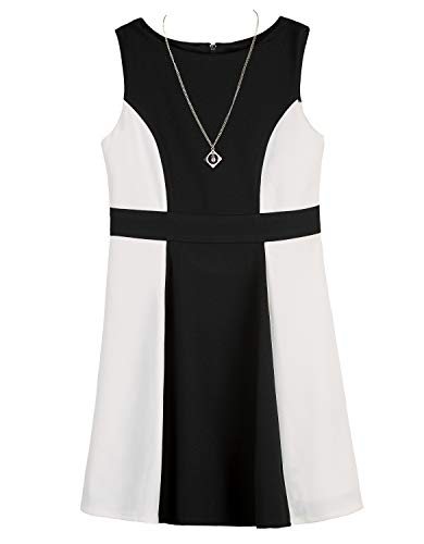 Amy Byer Girls' Big Colorblock Fit & Flare Dress, Black/Ivory, 10