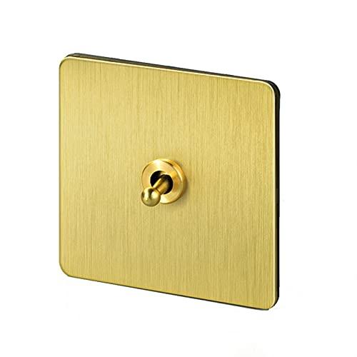 Jgzwlkj Interruptor de Pared Interruptor de Palanca de la luz de la Pared 1-4 Engranaje de 2 vías Gold Latón de Acero Inoxidable Panel USB Wall Outlets eléctricos Interruptores de Palanca