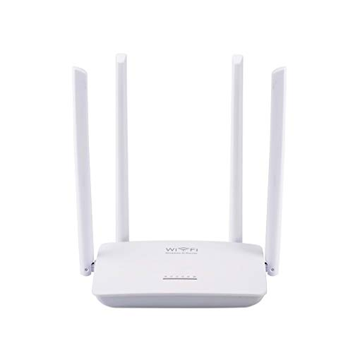 XMZWD Español Firmware Wireless Home Router WiFi Repeater Booster Extender Network 802.11 B/G/N 5 Port Rj45 300Mbps Blanco 4 Antenas, Mejor Regalo para Niños, Regalo para La Familia,