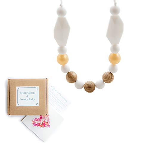 'Perles de Chêne' Collier de dentition; New Teething Necklace, Gift Box & Greeting Card; Natural Organic Oak Wood & Silicone Beads Jewellery - Blanc