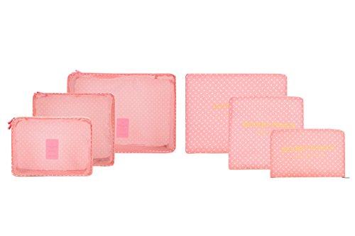 Confezione di indumenti e sacchetti da imballaggio, di bagaglio da viaggio Organizer per borsa Rosa Pink point