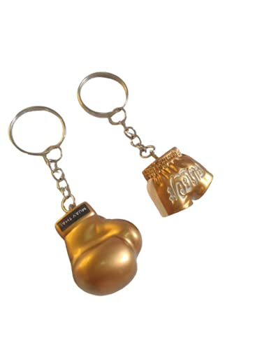 Honeybeloved Keychain Boxing Glove Pants for Men Mini Hanging Decoration Keychains Resin Souvenir Key Ring Car Room Home Keyrings Kick Boxing Mua Sport Gift Car Room Home Office Cumulative Gold