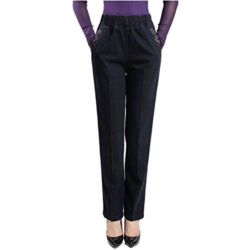 Hhckhxww Middle-Aged and Elderly Women's Trousersmiddle-Aged Women's Jeans High Waist Large Size Loose Mother's Wear Denim Pants Elastic Waist Pants