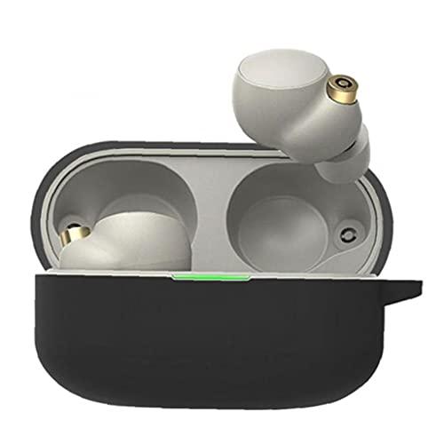 Silicona protectora a prueba de choques de carga inalámbrica Airpods Auriculares Caja de la caja Piel compatible con Sony WF-1000XM4 Earbudos Protección Piel negro