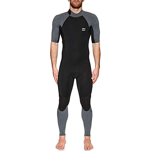 BILLABONG Mens 2mm Furnace Absolute Back Zip Short Sleeve Wetsuit Grey Heather N42M29 Wetsuit Size - S