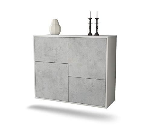 Dekati dressoir Fremont hangend (92x77x35cm) romp wit mat | front beton look | Push-to-Open