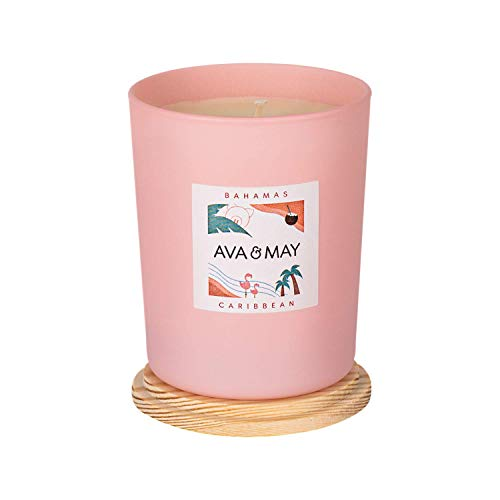 AVA & MAY Bahamas Duftkerze (180g) – vegane Kerze im Glas mit zarten Düften von Kokosnuss, Vanille und Monoi – Handgemachte Kerze mit Urlaubsfeeling