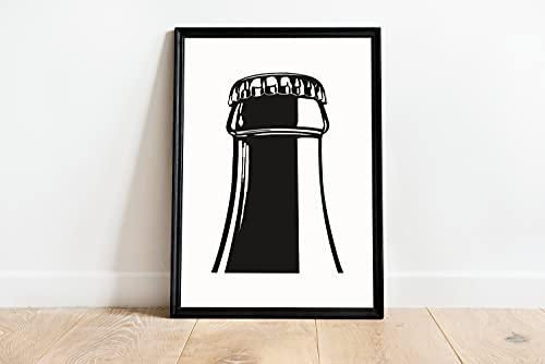 Flaschenhals, Flaschenwanddekoration, Schwarz & Weiß Minimalistisch, Flaschenkunst, Flaschenposter, Leinwandposter, Geschenk, ohne Rahmen, 30,5 x 45,7 cm