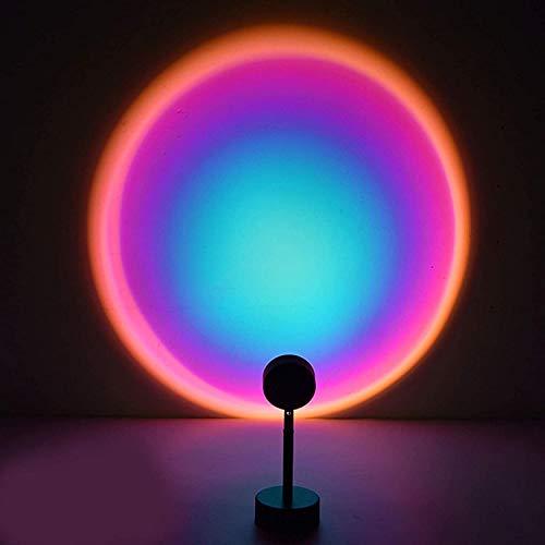 DULG Sunset Proyector Lámpara LED Mesa Luz de noche Luz de relleno colorida Luces de soporte de piso visuales románticas Proyección de rotación de 180 grados Regalo para fiesta Sala de estar Dormitori