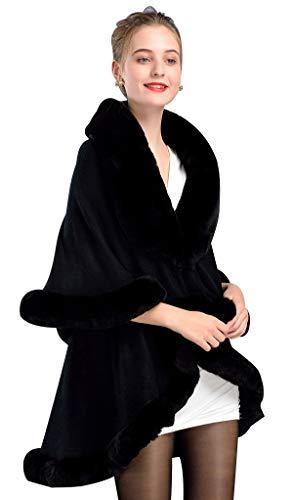 BEAUTELICATE Chal Pelo Mujer Poncho Capa de Piel Sintética Mujer Estola con Capucha de Punto Lana Abrigo Boleros para Bodas Fiesta Navidad Invierno Negro