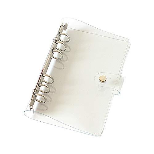 Langing, Klare Notizbuch-Hülle, aus weichem PVC, A5, 6 Abheftlöcher, nachfüllbar, Notebook-Schutz, Ringbuch A5
