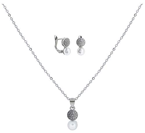 ENTREPLATA Juego Plata de Ley 925 Primera Comunion Conjunto Collar Colgante Pendientes Circonita Perla Regalo Original Niña Joven Mujer