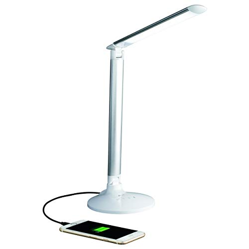 OttLite Command LED Desk Lamp with Voice Assist, Works with Google Home and Amazon Alexa, White
