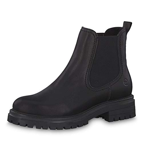Tamaris Damen Stiefeletten 25474-23, Frauen Chelsea Boots, Bootie Schlupfstiefel flach weibliche Lady Ladies,Black Leather,39 EU / 5.5 UK