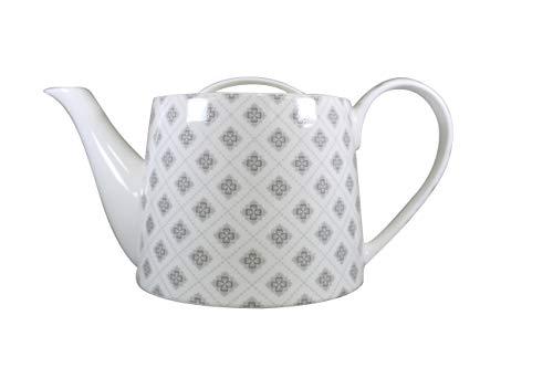 Jameson & Tailor Retro Teekanne Kaffeekanne Blümchen grau/Weiss Brillant-Porzellan 1000ml Füllmenge