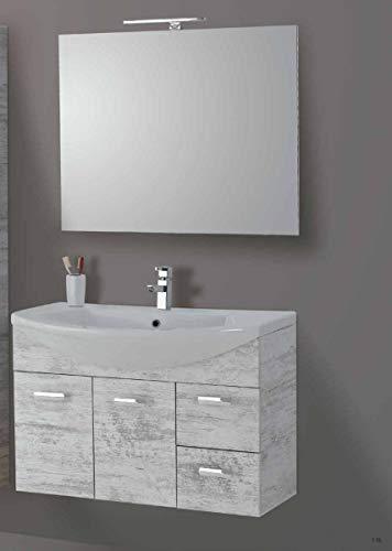 Set Mobile Lavabo Specchio LED Arredo Bagno Moderno Sidney90 CERAMICHEMIRANDA-Toronto