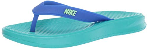 Nike Men's Solay Thong Slide Sandal, Hyper Jade/Lime Blast-Racer Blue, 13 Regular US