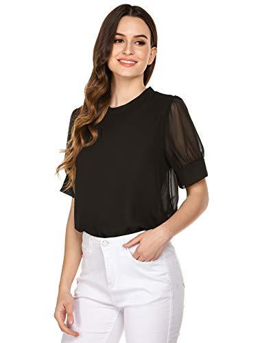 Bricnat damska bluzka szyfonowa, elegancka, przezroczysta bluzka z szyfonu, krótki rękaw, siateczka, fałdowana tunika, odświętna koszulka na lato
