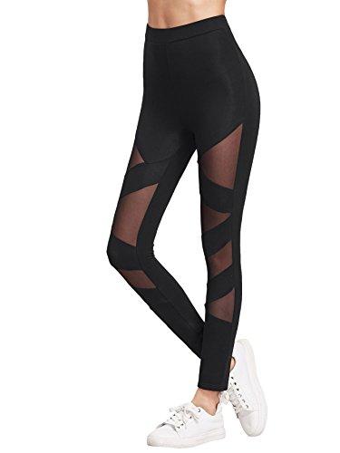 SweatyRocks Women's Mesh Stretchy Leggings Sports Workout Yoga Active Tights Black S