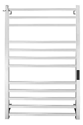 Keonjinn Electric Heated Towel Rack Towel Warmer for Bathroom with Built-in Timer, 12 Bars Wall Mounted Towel Heater with Temperature Control, Hardwired and Plug in, 304 Stainless Steel Polished