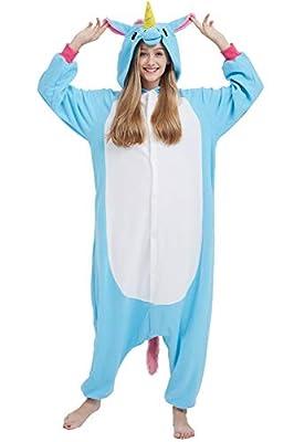 Disfraz de Animal Unisex para Adulto Sirve como Pijama o Cosplay Sleepsuit de una Pieza (Unicornio Azul, L)