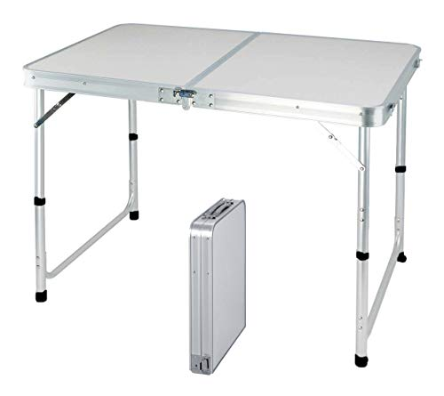 120CM Portable Aluminum Folding Table Party Garden BBQ Camping Table, 3 Gear Adjustable Height Lightweight Aluminum Foldable Table for Outdoor Picnic Cooking, White, Unfolding Size: 120x60x70/62/55cm