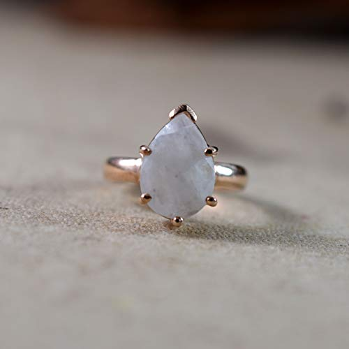Rose Gold Silver Ring, Pure 925K Sterling Silver, Faceted Pear, Natural Rainbow Moonstone, Dainty, Tiny, Handmade, Four Prong Design, Women's Moonstone Ring, Propose Ring, Birthday Gift, Size 3-15 -  World of Genuine Gem