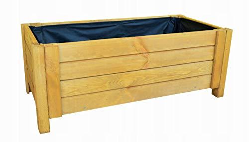 BOGATECO Pflanzkasten Pflanzkübelaus Holz | 80 x 38 cm | Eiche Braun | Blumen-Topf Perfekt für Garten, Terrasse & Balkon | Stabile und Robuste Konstruktion | Imprägniert | Mit Agro-Textil
