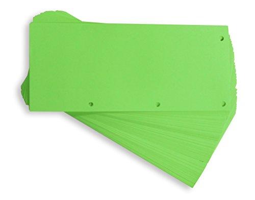 Oxford - Trennstreifen DUO aus recyceltem Karton, vollfarbig, gelocht, 10,5 x 24 cm, 160 g/m², 60 Stück, Grün