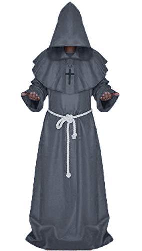 chuangminghangqi Disfraz medieval de Mnch Robe Prister para Halloween, talla L, color gris