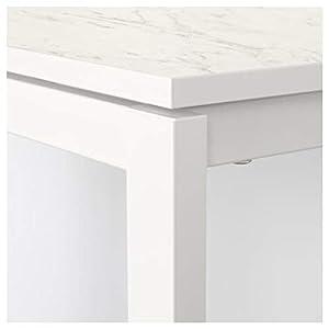 BestOnlineDeals01 Mesa MELLTORP, mármol blanco, 75 x 75 cm, duradera y fácil de cuidar. Hasta 4 asientos, mesas de comedor, mesas y escritorios. Muebles respetuosos con el medio ambiente.