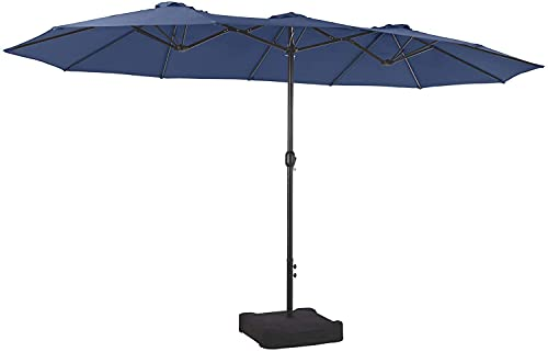 PHI VILLA 15ft Patio Umbrella Double-Sided Outdoor Market Extra Large Umbrella with Crank, Umbrella Base Included (Blue)